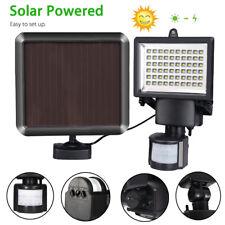 UK 2X60 LED Solar Powered PIR Motion Sensor Light Outdoor Wall Security Lights