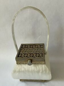 Vintage mother-of-pearl lucite bag With Metal Filigreed Lid And Base