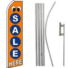 Sale Here Orange / Blue / White Swooper Flag & 16ft Flagpole Kit/Ground Spike