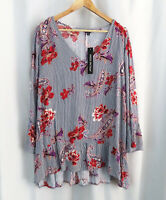 Nwt New Unique Spectrum Womens Stitch Fix Paisley floral Shirt Top Blouse Sz 2X