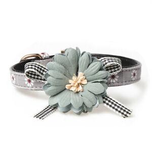 "Dog Puppy Flower Collar - Chrysanthemum - Blue Gray Tiny & Small Dogs 7-9"" Neck"