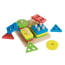 Baby Toddler Kids Puzzle Early Learning Toy Wood Colors Shapes Pegs Educational