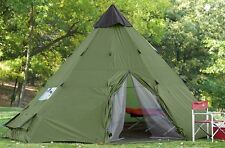 Family Teepee Tent 18'x18' Sleeps 10-12 People, Green Guide Gear Army Surplus