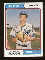 Charlie Hough #408 signed autograph auto 1974 Topps Baseball Trading Card