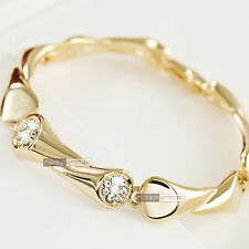 18k yellow gold gp made with SWAROVSKI crystal chain wedding party bracelet