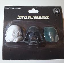 Disney Star Wars Eraser Pack Set 3 Darth Vader Boba Fett Storm Trooper Limited