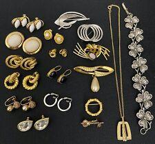 Vtg Brooch Pin Earrings Necklace Bracelet Topaz Rhinestone Faux Pearl Onyx LOT