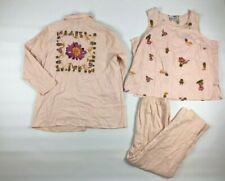 Delta Burke 3 Pc Suit Set Size B2 Jacket Blazer Top Pants H8 Linen Pink Floral