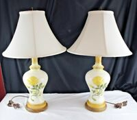 Vintage 70's Pair of Table Lamps Ceramic Yellow Rose Stiffle Shades-Lighting
