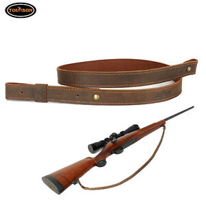 "Tourbon Buffalo Leather Rifle Gun Sling_Crazy Horse Adjustable Handmade_1"" Wide"