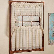 Adirondack Cotton Kitchen Window Curtains - Toast - Tiers, Valance or Swag