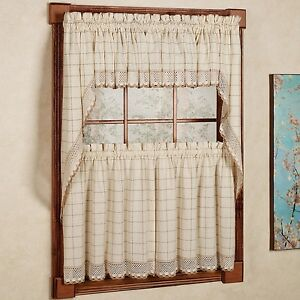 Adirondack Cotton Kitchen Window Curtains - Toast - Tiers, Valance or Swag