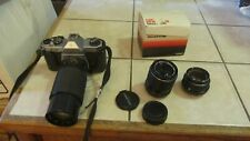 Vintage Pentax K1000 35mm Camera with 200MM Lens Tested Works Has 2 Extra Lenses