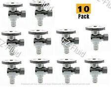"10Pcs Heavy Duty 1/2""Pex x 3/8""Comp 1/4Turn Brass Angle Stop Water ShutOff Valve"