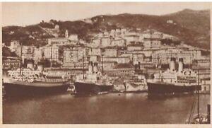 GENOVA CARTOLINA DIVERSE NAVI ALLA FONDA NEL PORTO PELOSO 1938 non viaggiata