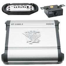 Soundxtrem 3000 Watt Power Amp Car Amplifiers w/ Bass Knob St-1500.2 4 Ohm 2-Ch