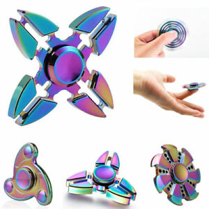 Fidget Spinner Focus Hand Toy, Stress Anxiety ADHD Relief - Rainbow Chrome Pack