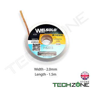 WELSOLO Desolder Desoldering Braid Wick Wire Mop Solder Sucker Fluxed Remover