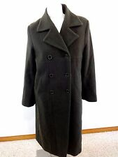 KRISTIN BLAKE WOMENS OLIVE LAMBSWOOL CASHMERE BLEND LONG WINTER COAT SIZE 8