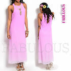 New Elegant Loose Fit Chiffon Maxi Dress Size 8-14 Party Formal Evening Wear