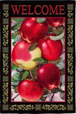 New Evergreen Autumn Fall Garden Flag Dappled Apples Welcome 2 Sided 12.5 X 18