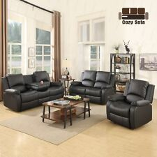Sofa Set Loveseat Chaise Couch Recliner Black Leather Living Room Furniture
