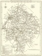 WARWICKSHIRE. County map. Polling places. Coach roads. DUGDALE 1845 old