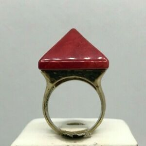 "Barse ""Zara"" Red Jasper Gemstone Pyramid Ring Gold Plated Size 8"