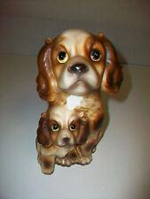 "Vintage Ceramic Cocker Spaniel Mom & Baby Dog Coin Bank 7"" Made in Japan"