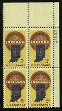 US Scott #1308, Plate Block #28375 1966 Indiana 5c FVF MNH Upper Right