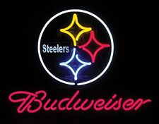 """New Budweiser Pittsburgh Steelers NFL Beer Neon Sign 24""""x20"""""""