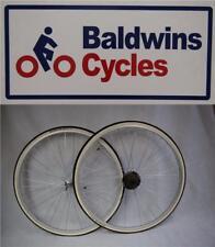 "27"" x 1 1/4 PAIR Q/R Bike Wheels + Premium White Wall Tyre's & 7 Speed Freewheel"