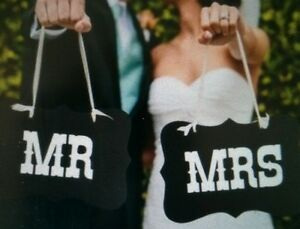 Mr & and Mrs Photo Prop Signs Sign Hanging Wedding Chair Country Garden Banner