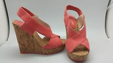 Fashion Pelle Moda Dana Womens Suede Wedge Platform Sandals coral, high size 6
