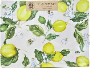 Set / 4 Benson Mills Cork Placemats Lemons & Bees Yellow White Rectangular