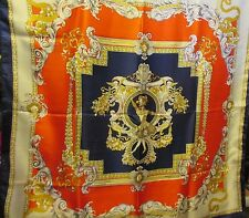 VINTAGE 1980's RED, NAVY BLUE & GOLD SCARF w CHERUBS, ANGELS & DANCERS 33""
