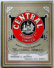 India CENTRAL INSURANCE 1916 hardcover advert Calendar & 20pgs Blotter book