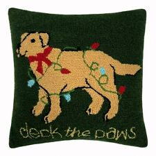 """New St Nicholas Square Deck The Paws Golden Lab Dog Holiday Crewel Pillow 14"""""""