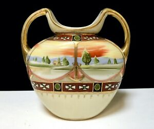 NIPPON Antique Porcelain VASE Scenic Maltese Cross Gold Beaded Hand Painted Exc.
