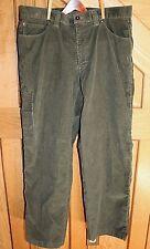L.L. Bean Men's Corduroy Sporting Pants Khaki Green Measure 36x30 Stretch