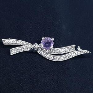 World Class 1.40ctw Amethyst & Diamond Cut White Sapphire 925 Silver Brooch 4.4g