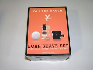 Van Der Hagen men's premium 4 piece luxury black porcelain shave set #400054 NEW