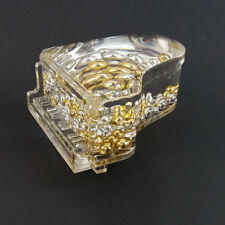 Vtg Grand Piano Figurine Clear Acrylic Paperweight Floating Gold Silver Beads