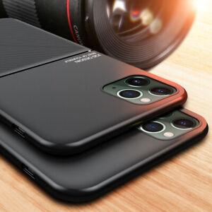Magnetic Metal Sheets PU Leather Hybrid Carbon Fiber Hard Slim Phone Case Cover