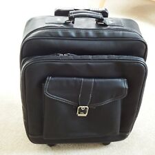 Small black faux leather suitcase pull up handle 2 wheels zip & popper fastening