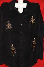 Ugly Christmas Sweater Sz M Black Fleece Shirt Gold Stick Trees Beads Super Ugly