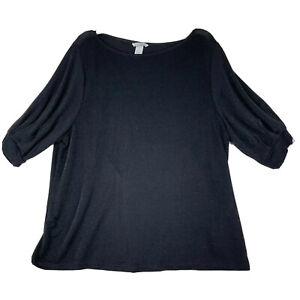 H&M Black Top Womens Size XL Black Long Sleeve Jeweled Shirt Round Neck