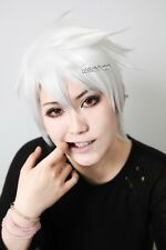 Soul Eater soul pure white short layers spiky cosplay wig / 36cm