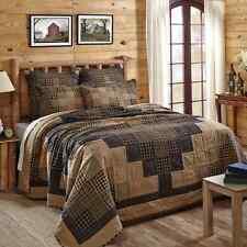 COAL CREEK Twin Quilt Patchwork Plaid Black/Tan Rustic Lodge Check Primitive