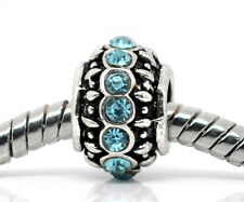 March Birthstone Blue Rhinestone Ring Spacer Charm for European Bead Bracelets
